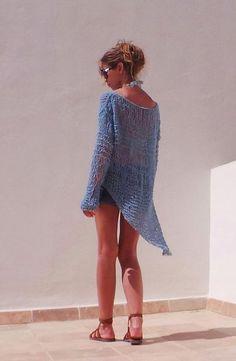 Suéter de punto de Jersey azul turquesa turquesa azul por ileaiye