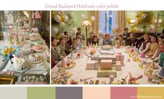 Grand Budapest Hotel, color palette, set design Grand Budapest Hotel, Grand Hotel, Ralph Fiennes, Hotel Interiors, Set Design, Keep It Cleaner, Table Settings, Table Decorations, Color
