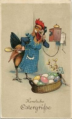 This just seems wrong on a bunch of subtle levels. Like when your aunt cooks her food in your mom's kitchen. Chicken Painting, Chicken Art, Easter Art, Easter Bunny, Vintage Greeting Cards, Vintage Postcards, Arte Do Galo, Images Victoriennes, Decoupage