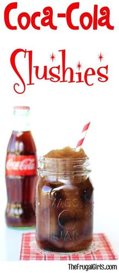 Coca Cola Slushie Recipe!  How to make your own homemade copycat Coke Slurpee!  These easy slushies are the perfect refreshing drink for kids and adults on a hot day! | TheFrugalGirls.com