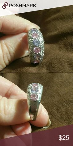 Sterling silver band Pink Sapphire and amethyst surround by diamond accent Jewelry Rings