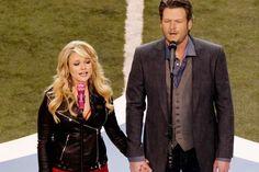 Miranda Lambert rocking a leather jacket + Blake Shelton looking dapper in a blazer....modern day Johnny & June