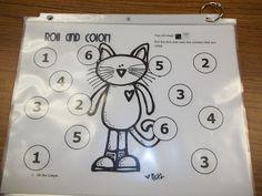 Pete the cat - roll and color + a good website for math games Preschool Math, Kindergarten Classroom, Kindergarten Activities, Teaching Math, Teaching Ideas, Book Activities, Classroom Ideas, Math Work, Fun Math