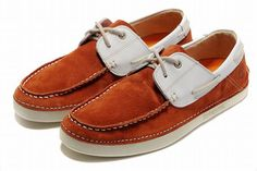 orange and white timberland 2 eye classic boat shoes men low cost