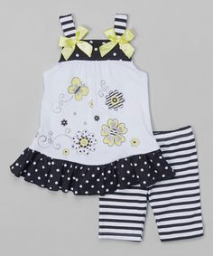 Look what I found on #zulily! White & Black Polka Dot Tank & Stripe Shorts - Toddler & Girls #zulilyfinds