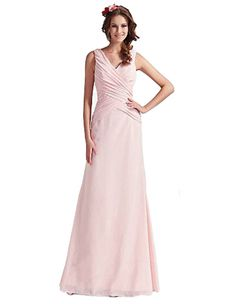 Pink V-neck Long Gown Bridesmaid Dress Prom Formal JH-CLF0113 (3XL-12)
