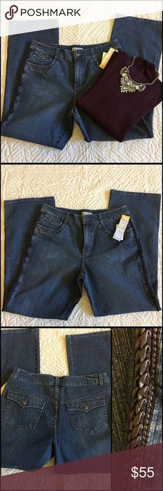 "Cold water Creek Leather Trim Jeans/ Sweater Set Jeans are new with tags. Sweater is NWT. Jeans are a wide leg style and has a wide waist band, flap back pockets. Cool part is the braided brown leather trim running down both side of the jeans. Waist button is 37"" and inseam is 32"" 99% Cotton 1% Spandex Machine wash/drub The sweater is rib and mock neck--size XL Color  Burgundy --sleeve length is 23 1/2"" Body length is 24"" and across the front bust only is 29"" with stretch. 100% Cotton Hand…"