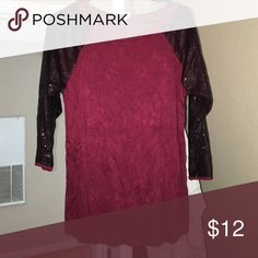 CUTE DRESSY SHIRT NEVER WORN. PICTURE LOOKS SPLOTCHY BUT ITS NOT. JUST A THIN MATERIAL. VERY SOFT MATERIAL. Tops Tees - Long Sleeve