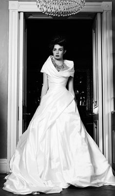 """Modest yet super-glamorous  Angelina Collarusso wedding gown """"Antonia"""" with portrait collar."""