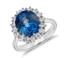 Fit For A Royal! Oval Sapphire and Diamond Cluster Ring in 18k White Gold