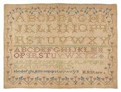Silk on linen sampler, ca. 1835, possibly Alban : Lot 758