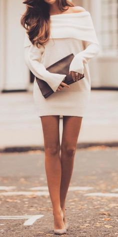 Off shoulder sweater dress... | Street Fashion