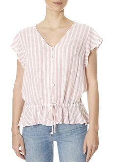 This is the 'Bretton' Rose Pink Stripe Shirt by stunning brand Rails. Leopard Dress, Pink Leopard, Pink And White Stripes, Ladies Tops, Striped Shorts, Yellow Dress, V Neck Tops, Pink Roses, Play