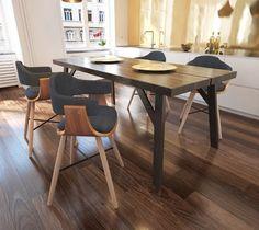 271946 Krzesła do jadalni Drewno+Materiał x4 - Krzesła kuchenne - zdjęcia, pomysły, inspiracje - Homebook