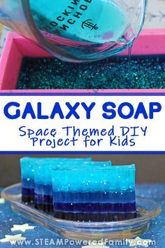 """This DIY Galaxy Soap making project is an amazing addition to a space unit study, or as a """"just because it's awesome project"""" for your space lover. It is actually incredibly easy to do and produces a soap that captures the beauty of our star filled s Space Projects, Diy Projects For Kids, Diy For Kids, Diy Galaxie, Savon Soap, Homemade Bath Bombs, Diy Lip Balm, Soap Melt And Pour, Fun Galaxy"""