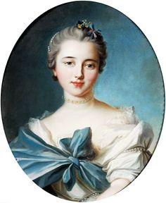 Karoline -Von - Manderscheid : escuela francesa : Retrato de una mujer joven. siglo 18.