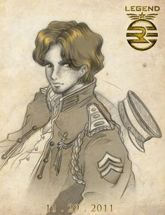 Captain Metias Iparis, June's older brother in LEGEND. Illustrated by the book's author, Marie Lu.