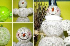 Zimní dekorace sněhuláka z provázku