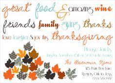 thanksgiving, turkey day, thanksgiving dinner invitation, thanksgiving party invite via party box design. Fall dinner party invitation