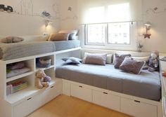 12 Clever Small Kids Room Storage Ideas - www. 12 Clever Small Kids Room Storage Ideas - www. 12 Clever Small Kids Room Storage Ideas - www. Bed In Corner, Corner Twin Beds, Corner Table, Corner Unit, Kids Corner, Kids Bunk Beds, Lofted Beds, Shared Rooms, Boy And Girl Shared Room