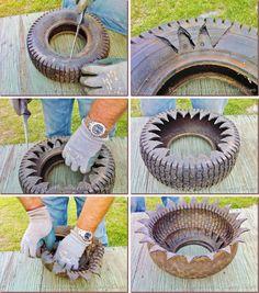 kvetinac z pneumatiky postup