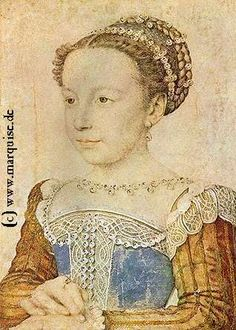 Two portraits of Marguerite de Valois, future Queen of France, by Francois Clouet, c. Despite her young age (just 6 or 7 years old), Marguerite wears perfect petite versions of what the adults around her would have been flaunting in the. Costume Renaissance, Renaissance Portraits, High Renaissance, Renaissance Artists, Renaissance Paintings, Jean Fouquet, François Ii, Elizabethan Era, French Royalty