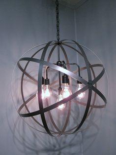 Industrial Light Globe 24 Strap Metal Orb by WoodandIronWorks Ring Chandelier, Globe Chandelier, Black Chandelier, Chandelier Ceiling Lights, Industrial Lighting, Home Lighting, Antique Light Bulbs, Wine Barrel Rings, Custom Crates