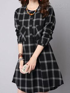 2016 Spring Autumn Casual Women Dress Plaid Shirt Dresses For Women O Neck Pockets Vestidos Long Tops Blusas Kurta Designs, Plus Size Alternative Clothing, Mini Shirt Dress, Tunic Shirt, Looks Chic, Straight Dress, Indian Designer Wear, Mode Style, Designer Dresses