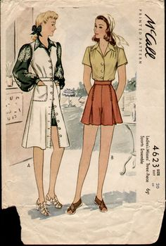 McCalls 4623 1942 Shorts Blouse Jumper Playsuit by cemetarian, via Flickr
