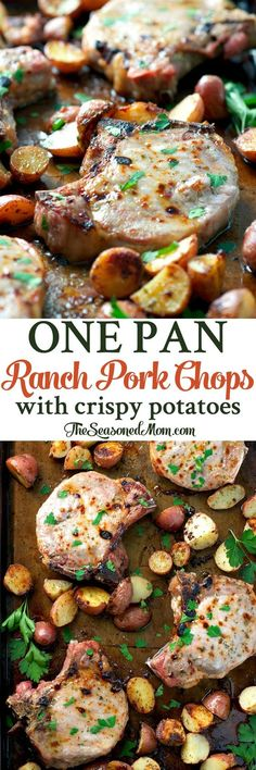 Easy dinner alert! You only need 10 minutes of prep for these One Pan Ranch Pork Chops and Crispy Potatoes -- a Sheet Pan Supper for busy nights!
