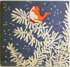Christmas •~• vintage blue, orange, and white bird on branch greeting card