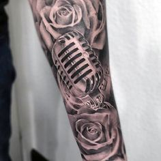 Amazing Forearm Sleeve Guys Shaded Rose And Microphone Tattoo Design Ideas