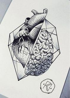 geometric heart and heAD Pencil Art Drawings, Art Drawings Sketches, Tattoo Sketches, Tattoo Drawings, Brain Tattoo, Brain Art, Kunst Tattoos, Anatomy Art, Heart Art