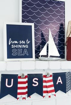 Free Patriotic Nautical Printables by Paging Supermom -- Tatertots and Jello