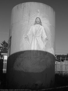 This is the depiction of Jesus ascending into heaven painted onto the fourth of four gas tanks stored behind an now abandoned gas station in Long Beach, WA. Christmas in art Propane Tank Art, Heaven Painting, Gas Station, Christmas Art, Long Beach, Abandoned, Artwork, Left Out, Work Of Art
