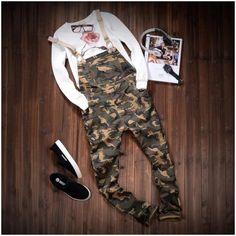 *Online Exclusive* Men's Camouflage Slim Straight Stretch Twill Overalls $79.50