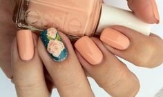 peach nails not a bad idea with the combination of a print and solid color