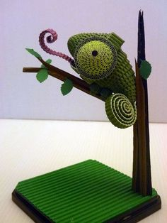Paper Quilling Patterns Designs | Quilling 3D Chameleon Pattern 225x300: