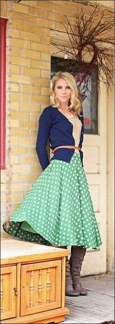 My love for #polka dots, #cardigans, #nude tones... Love how the polkas are on a fresh green color and the skirt is in a ballroom flaire