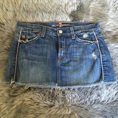 Sevens Jean skirt Denim Jean skirt! Size 25. Has melon color stitching on pockets! Seven7 Skirts Mini