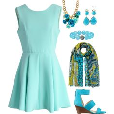Dressy look in Mint by mary-dombrowski on Polyvore featuring Chicwish, Nine West, Ippolita, Lagos, Cara and Etro