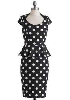 Polka Dot Peplum Dress in black and white. The Lady in You Dress   Mod Retro Vintage Dresses   ModCloth.com