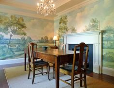 Using Murals to Expand Spaces: A Look Inside at Client Photos A mural makes this small dining room happily intimate. Try our Aldsworth natural mural for a similar feeling. This charming pied–à–terre was in a row house. The owners, who Scenic Wallpaper, Of Wallpaper, Chinoiserie Wallpaper, Wallpaper Designs, Wallpaper Panels, Elegant Dining Room, Dining Room Design, Blue Willow Decor, Dining Room Wallpaper