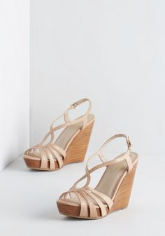 Brunette Wedge in Beige. Though the average fashionista is sure to adore these stacked wedges by Seychelles, the leather pair itself is anything but! #tan #modcloth