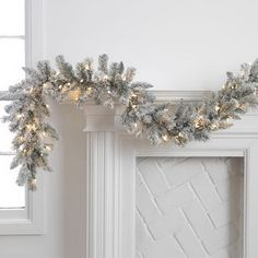 Buy a swag of garland spray paint it white then spray ceiling spray on top. Spray as light or heavy as you want. This is better than flocking because nothing will come off..