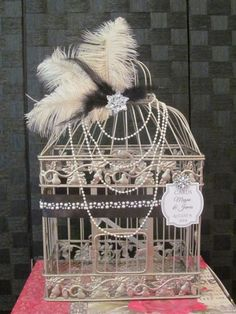 Great Gatsby Wedding #BirdcageweddingCardHolder Art Deco Style | TheWeddingDecorPlace - Wedding on ArtFire Will customize!