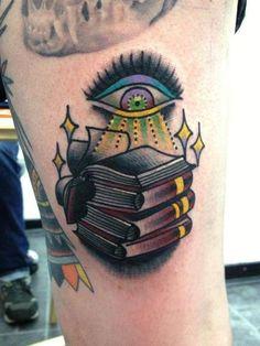 Books tattoo for spiritual people