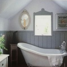 blue bathroom with wainscoting - Google Search