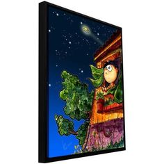 Luis Peres Ufo Kid 1 inch Floater-Framed Gallery-Wrapped Canvas, Size: 18 x 24, Purple