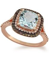 EFFY Aquamarine (1-7/8 ct. t.w.) and White (1/4 ct. t.w.) and Brown (1/6 ct. t.w.) Diamond Ring in 14k Rose Gold